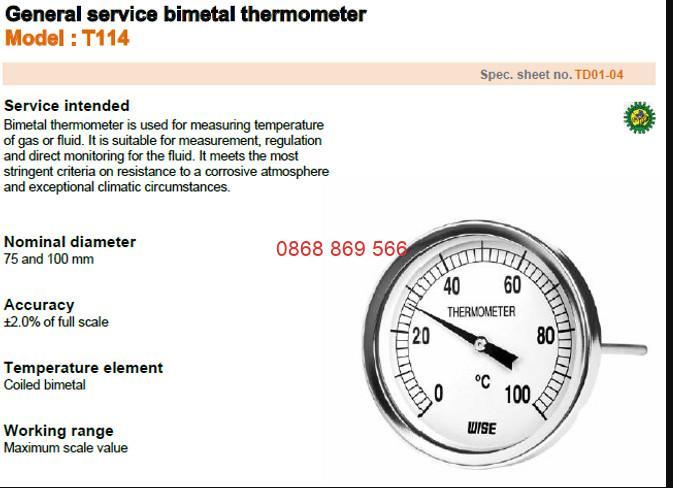 Đồng hồ đo nhiệt độ Wise T114